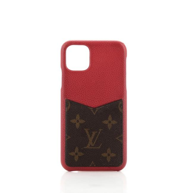 Item - Brown Red Bumper Case Leather with Monogram Canvas Iphone 11 Pro Max Tech Accessory
