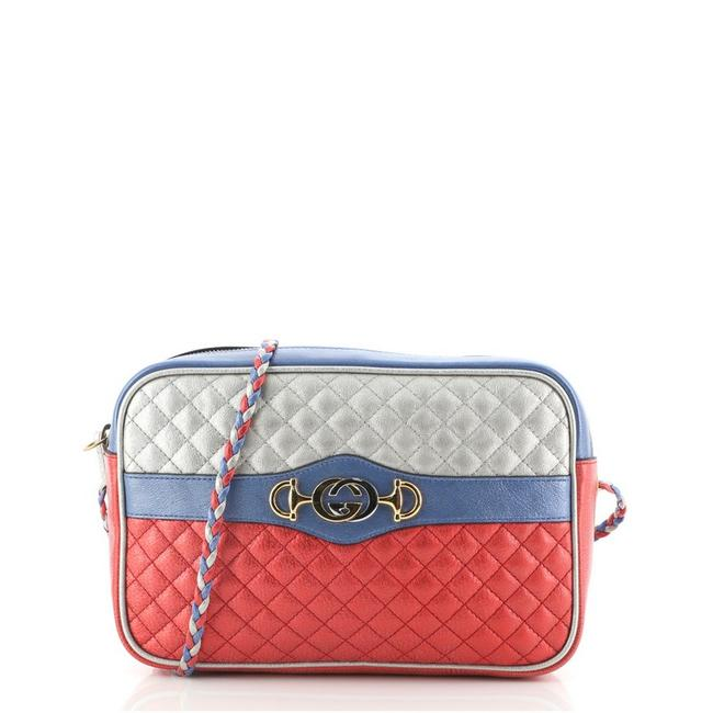Item - Camera Trapuntata Quilted Laminated Medium Blue Multicolor Red Silver Leather Cross Body Bag