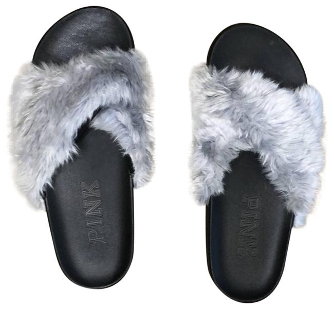Item - Gray Vs Nwot Faux Fur Criss Cross Slides Sandals Size US 8 Regular (M, B)