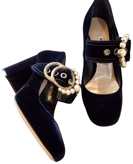 Item - Navy W Pearly Block Heel Pumps Size US 8 Regular (M, B)