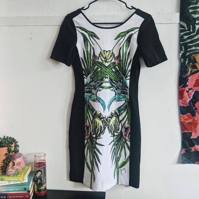Item - Black Mirrored Floral Ponte Bodycon Short Cocktail Dress Size 4 (S)