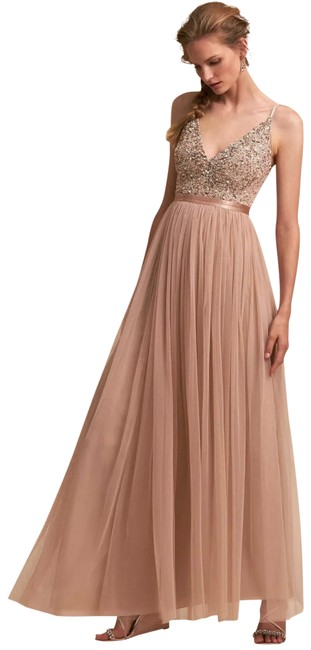 Item - Blush New Avery Beaded Tulle Gown Long Formal Dress Size 4 (S)