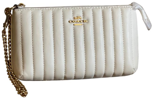 Item - Large Quilted Cream & Gold Linear Leather Wristlet