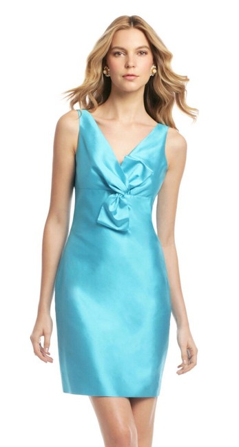 Item - Turquoise Silk Blend Bow Short Cocktail Dress Size 4 (S)