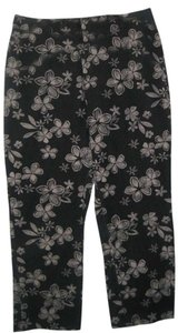 DKNY Slightly Cropped Tab Closure Straight Pants charcoal grey with tan print