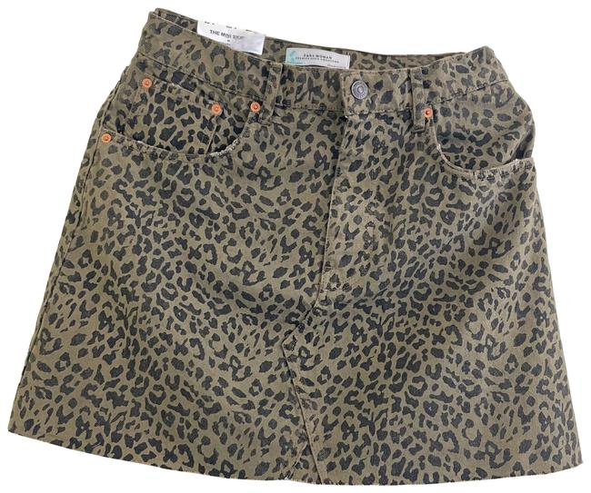 Item - Olive Green and Black The In Leopard Print Skirt Size 8 (M, 29, 30)