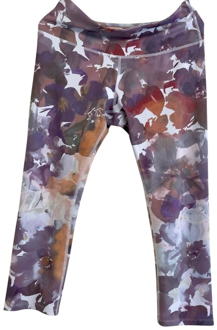 Item - White and Prupple Flower Pattern High Waisted Activewear Bottoms Size 12 (L)