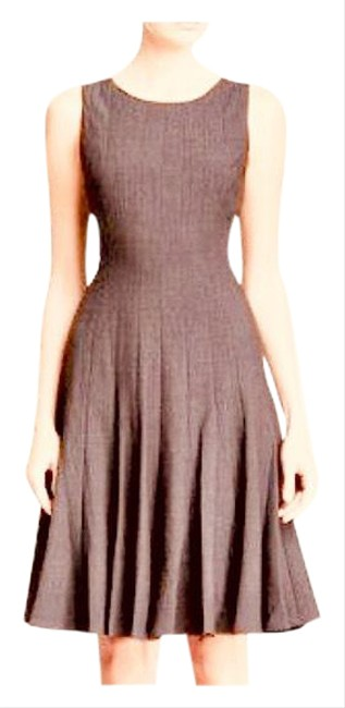Item - Brown Sleeveless Seamed Fit & Flare Mid-length Work/Office Dress Size 8 (M)