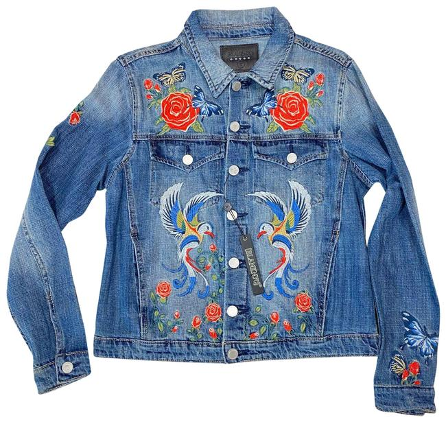 """Item - Blue Womens Floral Embroidered Jean """"Nwt"""" Jacket Size 4 (S)"""