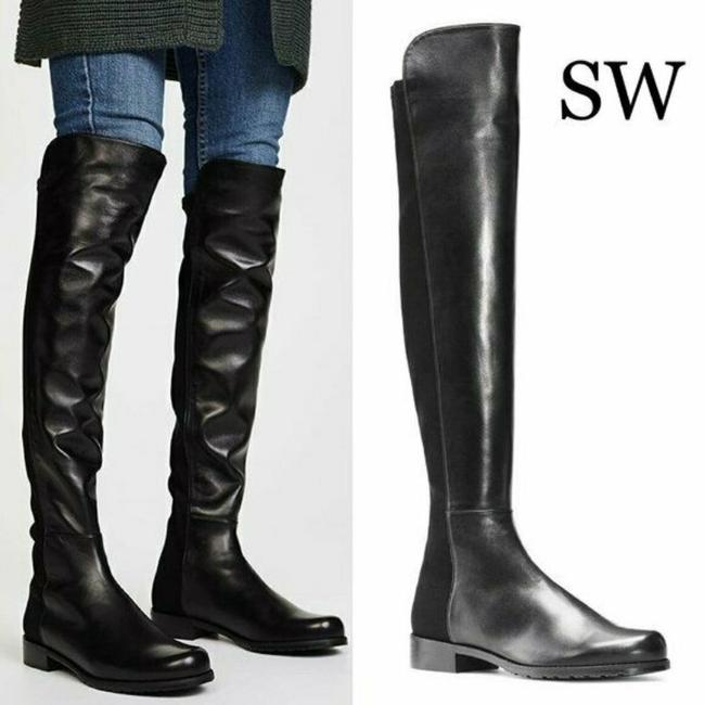 Item - Black 5050 Over The Knee Otk Leather Neoprene Boots/Booties Size US 8 Regular (M, B)