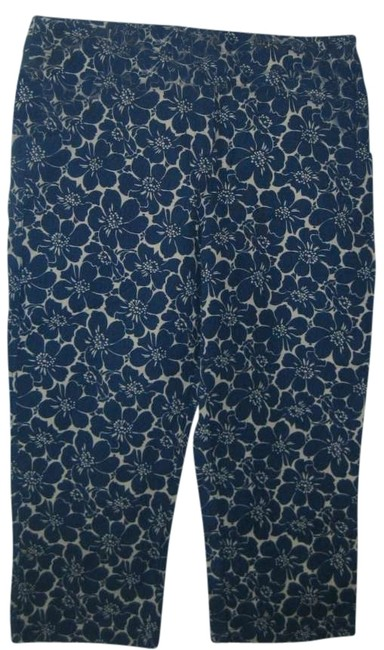 Boden Cropped Trouser Pants blue/white floral