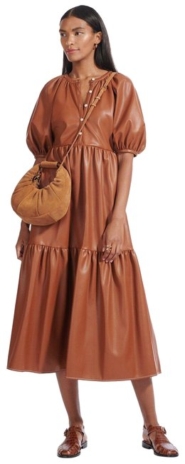 Item - Whiskey Brown Demi Faux Leather Puff Sleeve Tiered Long Casual Maxi Dress Size 2 (XS)
