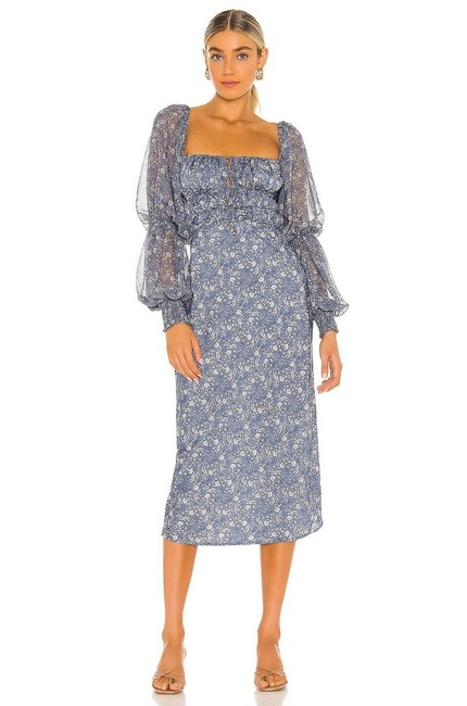 Item - Sapphire Combo Aglow Puff Sleeve Smocked Cutout Floral Midi Mid-length Casual Maxi Dress Size 4 (S)