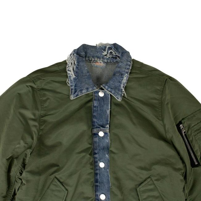 Item - Green Blue Denim/Green Reverse Trucker Bomber Jacket Size 8 (M)