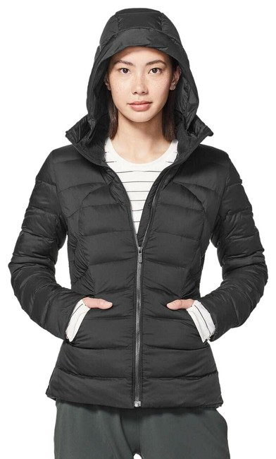 Item - Black Rare Pack It Down Removable Hood Water Repellent Puffer Activewear Outerwear Size 4 (S)