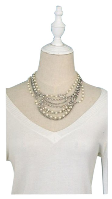 Item - Silver White Stone Pearl Crystal Layered Necklace