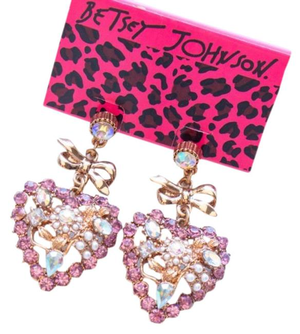 Item - Pink Gold Heart Crystals Drop Earrings