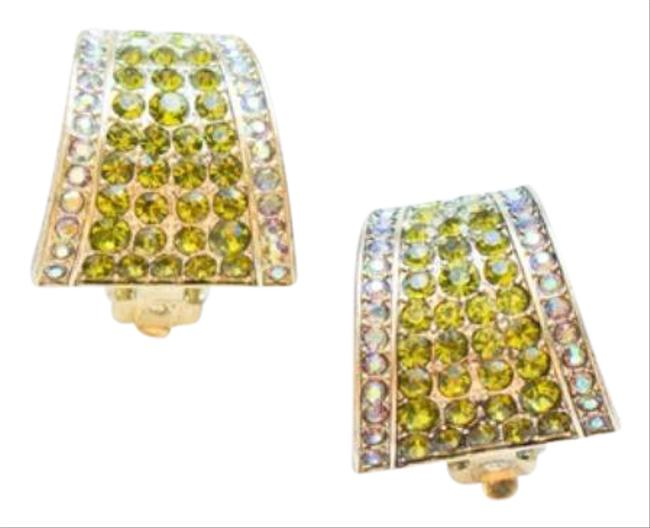 Item - Gold Green Say It with Style Crystal Half Hoop Earrings