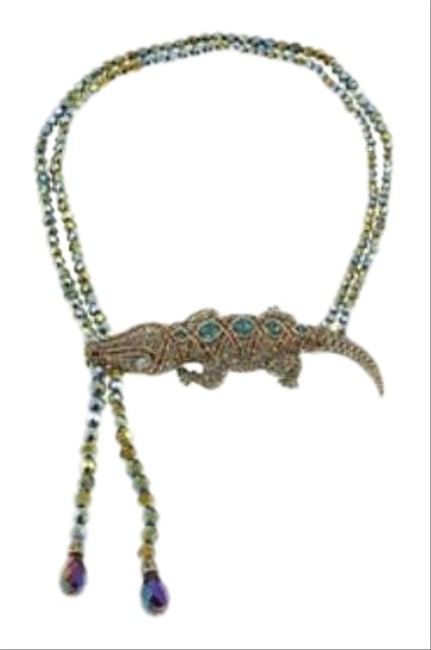 Item - Gold Green Ali-gorgeous Beaded Crystal Necklace