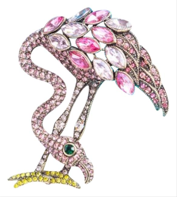 Item - Pink Gold Swarovski Crystal Flamingo Pin Brooch