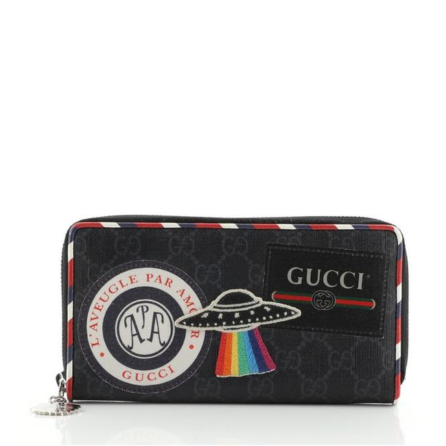 Item - Black Multicolor Courrier Zip Around Gg Coated Canvas with Applique Wallet