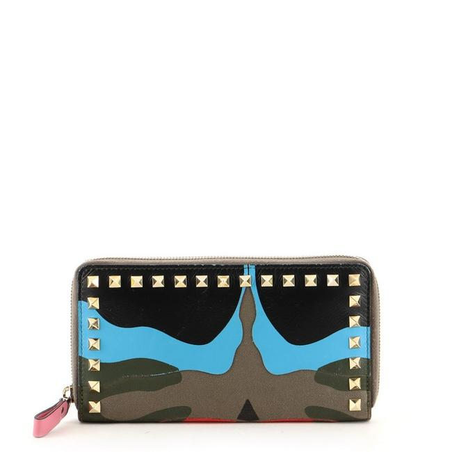 Item - Blue Green Multicolor Red Rockstud Zip Around Camo Leather and Canvas Wallet