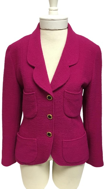 Item - Fuchsia Jacket with Black and Gold Buttons Blazer Size 8 (M)