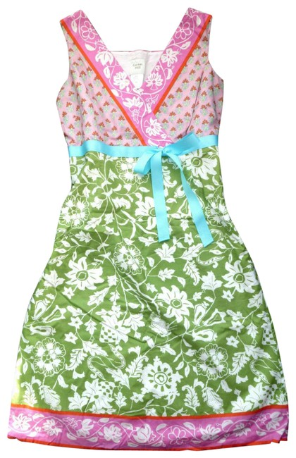 Item - Green Pink Sleeveless V-neck Floral Sheath Cotton Mid-length Short Casual Dress Size 6 (S)