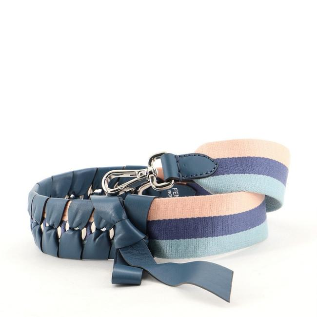 Item - Blue Bow Strap You Shoulder Strap Canvas with Braided Leather