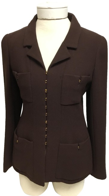 Item - Brown With Gold Hook Closure Skirt Suit Size 4 (S)