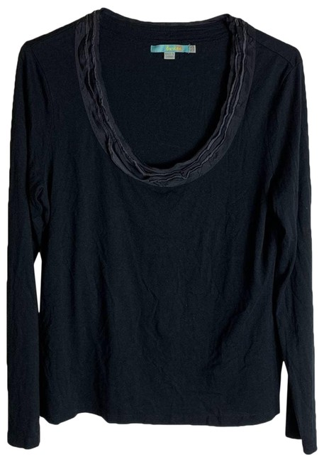 Item - Black Solid Neck Womens Blouse Size 10 (M)