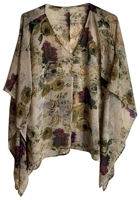 Item - Cream XS Sheer Floral Poncho Small Blouse Size 0 (XS)