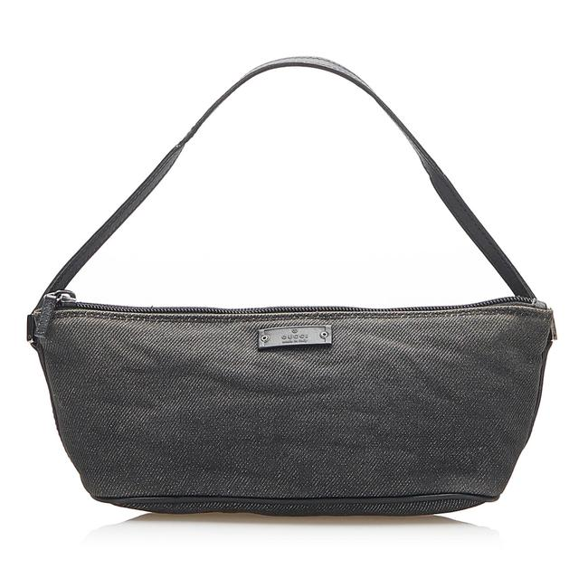 Item - Canvas Boat Gray Leather Baguette