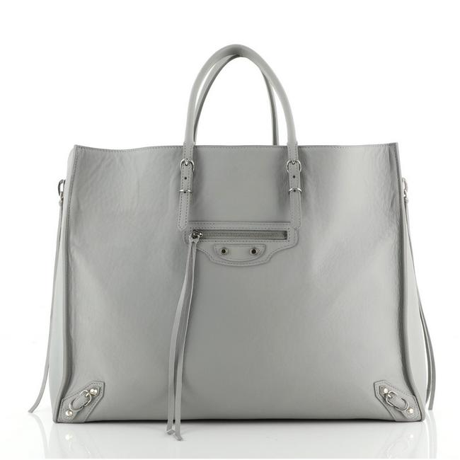 Item - Papier A4 Zip Around Classic Studs Large Gray Leather Tote