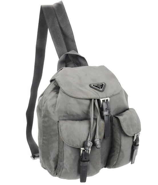Item - Double Front Pocket Gray Tessuto Nylon and Leather Backpack