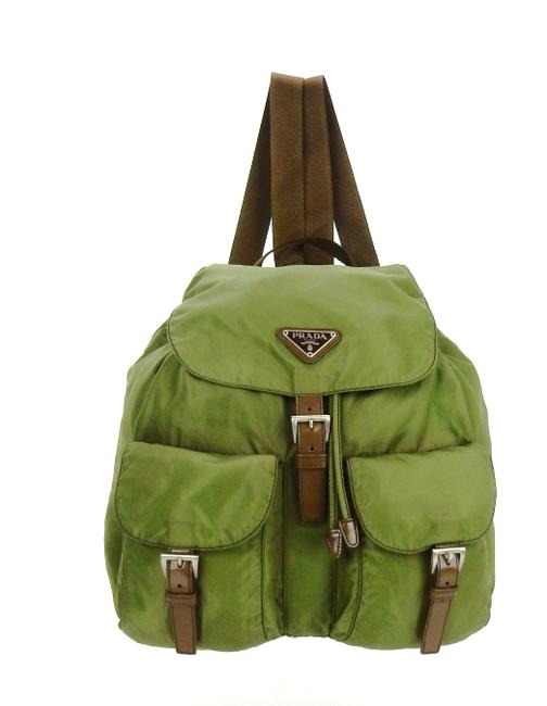 Item - Double Front Pocket Green Tessuto Nylon and Leather Backpack