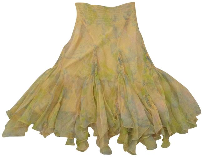 Item - Yellow/ Green Multi Color Special Edition Double Layer Silk Chiffon Flowy Skirt Size 0 (XS, 25)