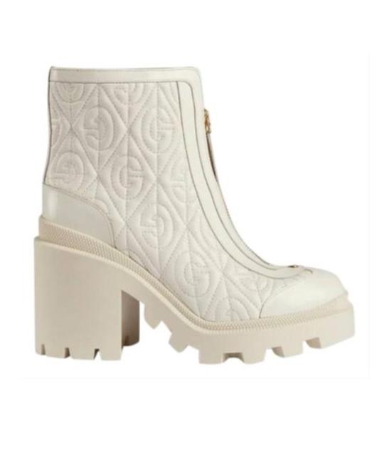 Item - White 602196 Rhombus Leather Ankle Boots/Booties Size EU 38.5 (Approx. US 8.5) Regular (M, B)