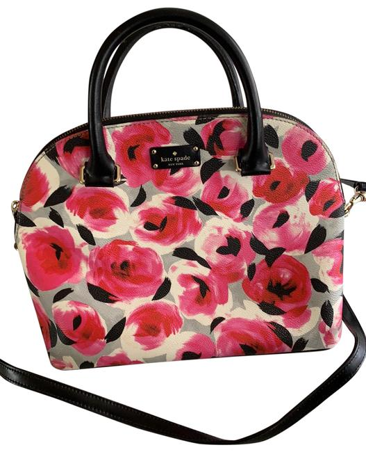 Item - Floral Black Pink and White with Gray Satchel