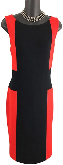 Item - Red Black Knit Mid-length Work/Office Dress Size 10 (M)