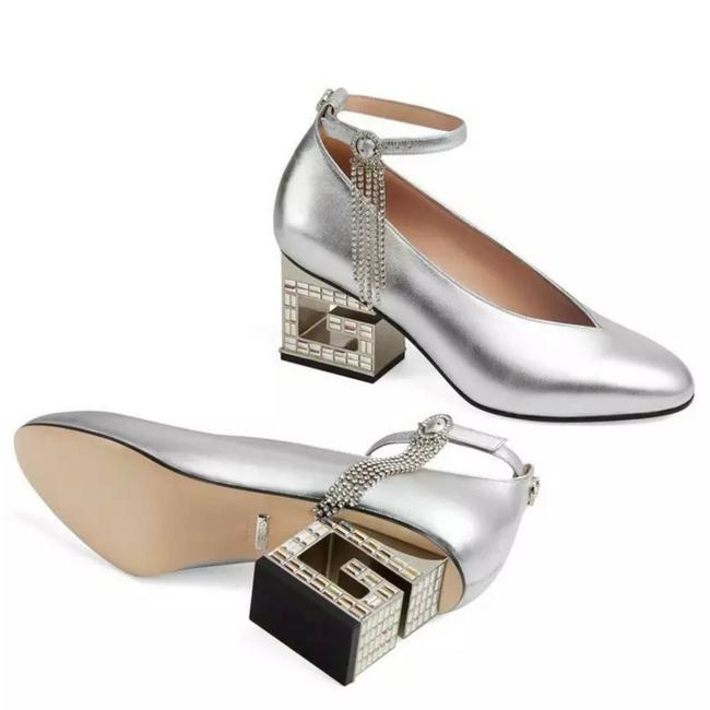 Item - Silver New Crystal G Heel Leather Pumps Size EU 37.5 (Approx. US 7.5) Regular (M, B)