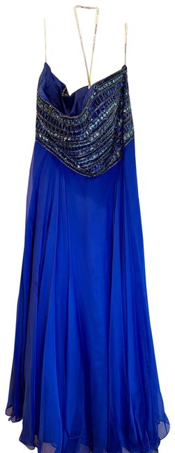 Item - Royal Blue Beaded Gown Long Formal Dress Size 24 (Plus 2x)