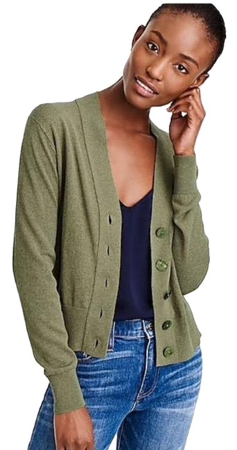 Item - Cropped Lightweight Cardigan Size Small Green Sweater