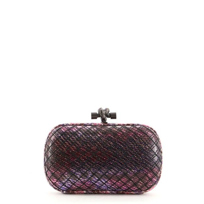 Item - Box Knot Stitched Small Multicolor Purple Snakeskin Exotic Clutch