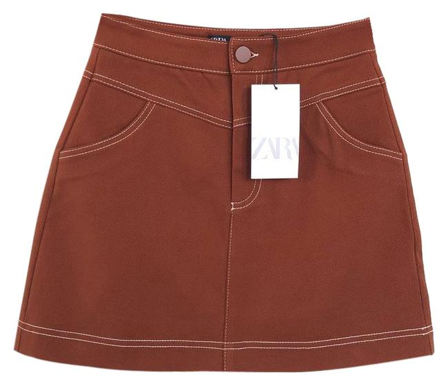 Item - Brown Contrasting Seams Twill Skirt Size 6 (S, 28)