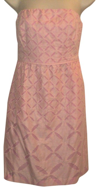 Item - Pink Ginny Style Knee Length Strapless Abstract Floral Lined Mid-length Cocktail Dress Size 0 (XS)