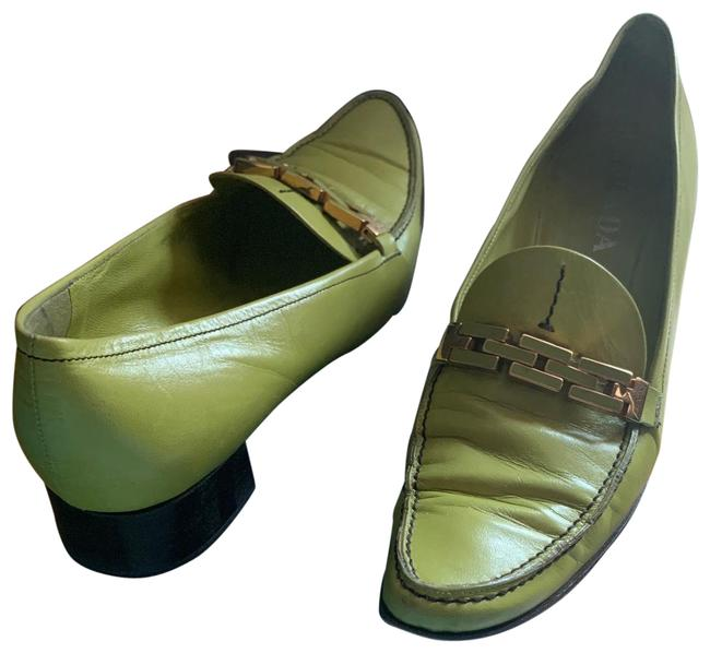 Item - Green Leather Loafers Flats Size EU 40 (Approx. US 10) Regular (M, B)