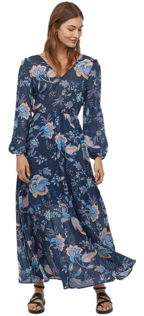 Item - Blue Floral V-neck New with Tags Casual Maxi Dress Size 12 (L)