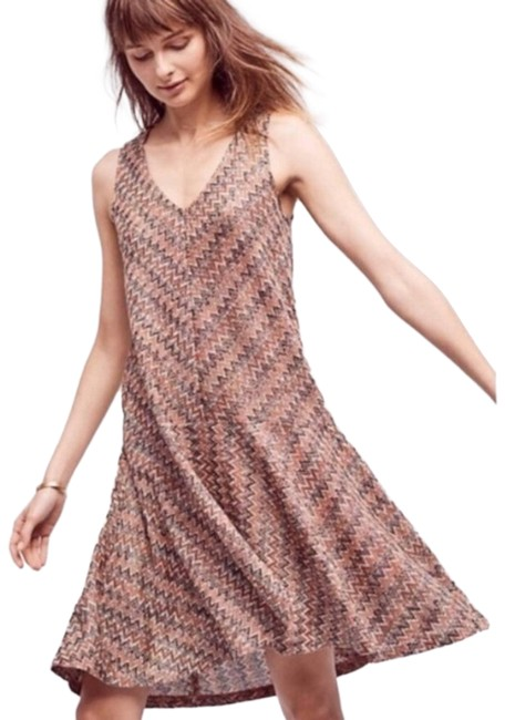 Item - Brown Maeve Westwater Chevron Swing Mid-length Short Casual Dress Size 2 (XS)