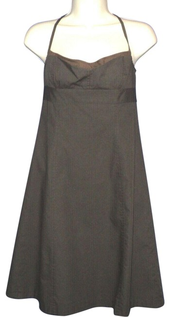 Item - Brown A-line Spaghetti Straps Knee Length Layered Look Mid-length Cocktail Dress Size 4 (S)